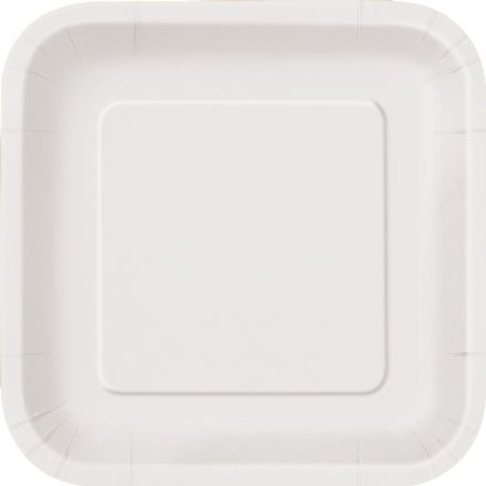"16 White Paper Party Plates 9""/23cm Square"